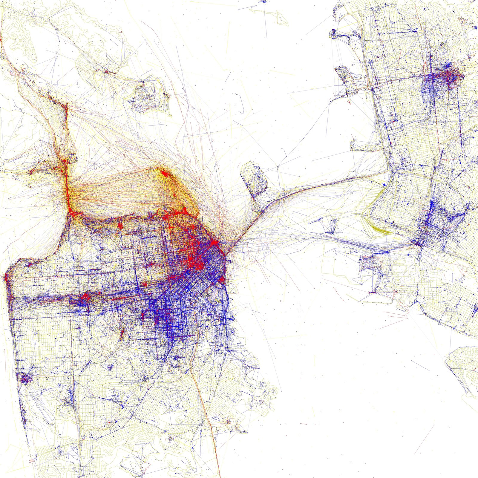 """The SPUR exhibition Urban Cartography, which is open until February 6, 2015, documents mapmaking in the past twenty years. Eric Fischer's map, one of the myriad pieces on view, documents where locals and tourists in San Francisco take photographs using geotagged images from Flickr and Picasa. Blue signifies locals, red is tourists, and yellow could be either. """"His maps are gorgeous,"""" says Allison Arieff, SPUR's editorial director and the show's curator. """"It's not immediately apparent what they are showing but a little explanation goes a long way.""""  Photo 1 of 7 in A Cartography Exhibition Uncovers Fascinating Maps About the Bay Area"""