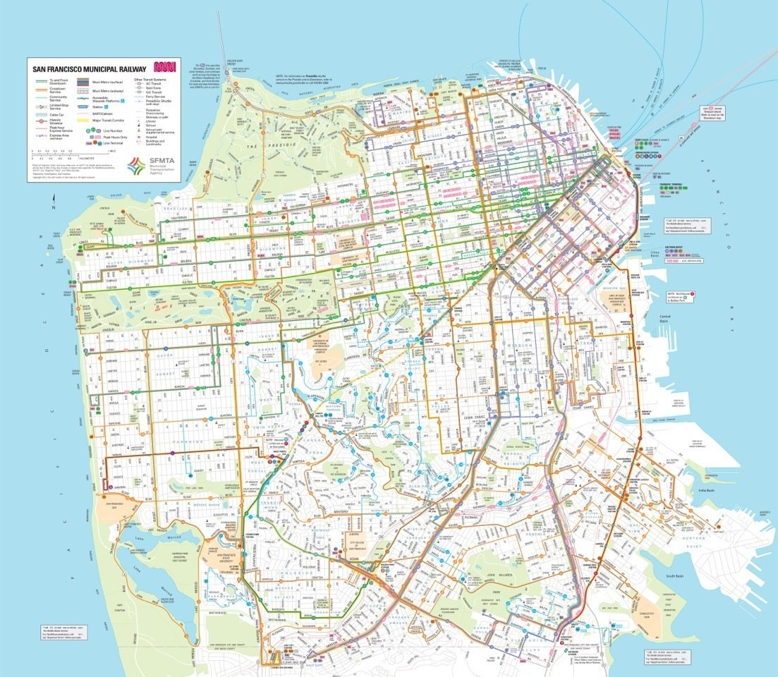 The SFMTA unveiled its new transit map at the exhibitions opening. Here's the existing design.  Photo 3 of 7 in A Cartography Exhibition Uncovers Fascinating Maps About the Bay Area