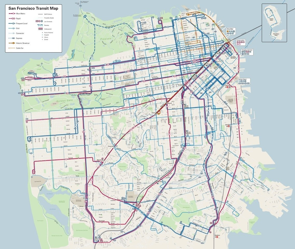 The new map refines how much information is presented and also reflects the frequency of each line to improve usability and trip planning.  Photo 7 of 7 in A Cartography Exhibition Uncovers Fascinating Maps About the Bay Area