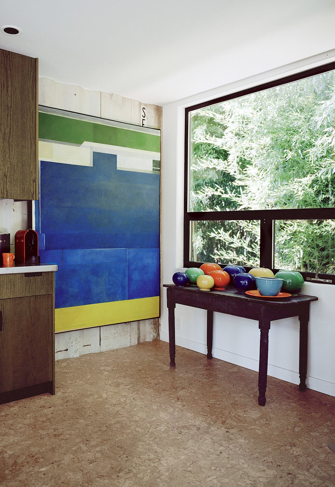 shipping container home hallway with console table