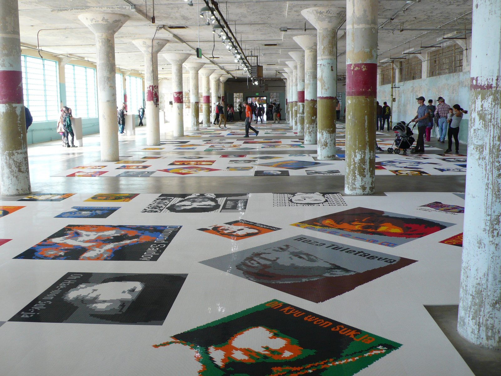Trace comprises 175 abstracted portraits of prisoners both past and present, rendered with 1.2 million Legos. The colorful medium is a direct, stark contrast to the subject.  Photo 1 of 7 in A Behind-the-Scenes Look at Ai Weiwei's Sobering Alcatraz Exhibition