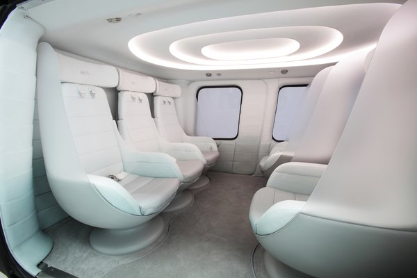 This VIP interior for the AW169 helicopter can accommodate up to five passengers in cocoon-like leather seats. The cabin is done up in a neutral palette, placing emphasis on the passing scenery.