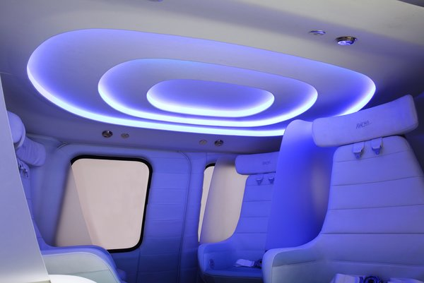 Three rings embedded with LED lights illuminate the cabin; users can choose which color light they prefer.
