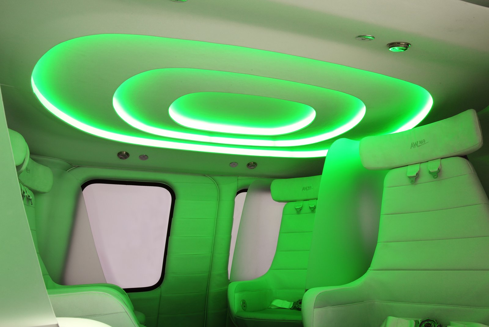 Using a specialized app, passengers can control the lighting, entertainment system, and window blinds, plus get information about their flight and destination.  The Ultimate Ride: VIP Helicopter with Plush Interior by Allie Weiss
