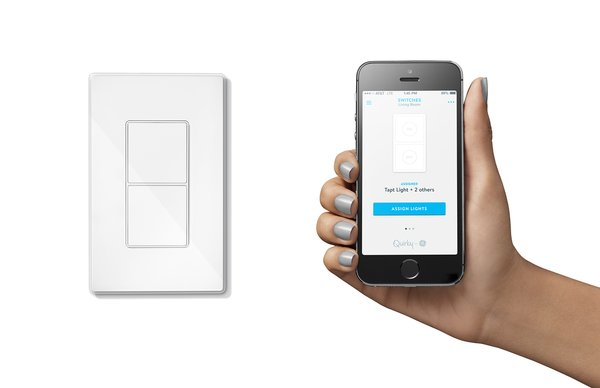 """Michael Taylor of Canton, Georgia, submitted the idea for the Tapt light switch. It features two buttons: a traditional on/off control and one that can be programmed to do any action, say, dim a bulb or turn all the connected lights in your house on. When smart bulbs are turned off by traditional switches, connectivity is lost. Not so with Tapt. Additionally, there's no need for a separate dimmer. Ben Kaufman, Quirky's founder and CEO, says that lightbulbs make up 40 percent of the products that Wink users control through the app. """"Lightbulbs are the gateway to the connected home,"""" he says. Over 100,000 people have started to use Wink since the app launched 126 days ago."""