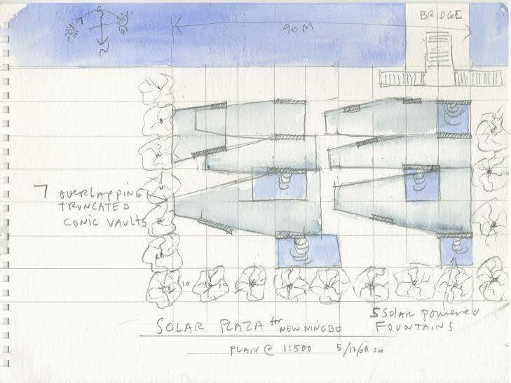 One of the lots up for auction, this watercolor drawing by Steven Holl depicts the plan for the Ningbo Fine Grain, a mixed use development that never came to fruition.  Photo 1 of 2 in Institute for Public Architecture's 2nd Annual Fall Fête