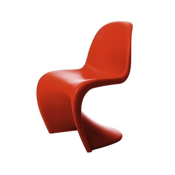 Known for his use of bold color and innovative forms, Verner Panton designed the Panton Chair for Vitra in 1960. Interested in the capability of plastic, Panton designed the chair to be comfortable and versatile enough to be used anywhere. The Panton Chair is the first chair to be created from only one piece of material, using a single mold, and it will be a welcome addition to any midcentury lover's home.