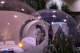 "Speaking of spheres: the inflatable Casabubble is a futuristic take on ""glamping""; imagine inflating this baby in the middle of the woods. It can run on a car battery!"