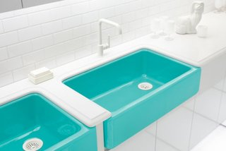 Kohler, who won the Dwell on Design award for Best Booth, exhibited their new collaboration with Jonathan Adler in a tricked-out shipping container. The sinks all feature bold washes of color, our favorite being this bright teal.