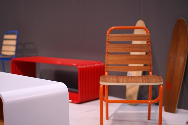Bright colors dominated the show floor, like the hues seen in these chairs from Bespoke Creative.