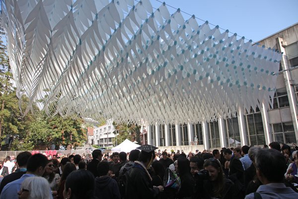 Wurster Cloud Installation  University of California, Berkeley (2012)   To shade graduation ceremonies for UC Berkeley's College of Environmental Design, Iwamoto and the 24 students in her digital fabrication seminar created a canopy outside Wurster Hall.