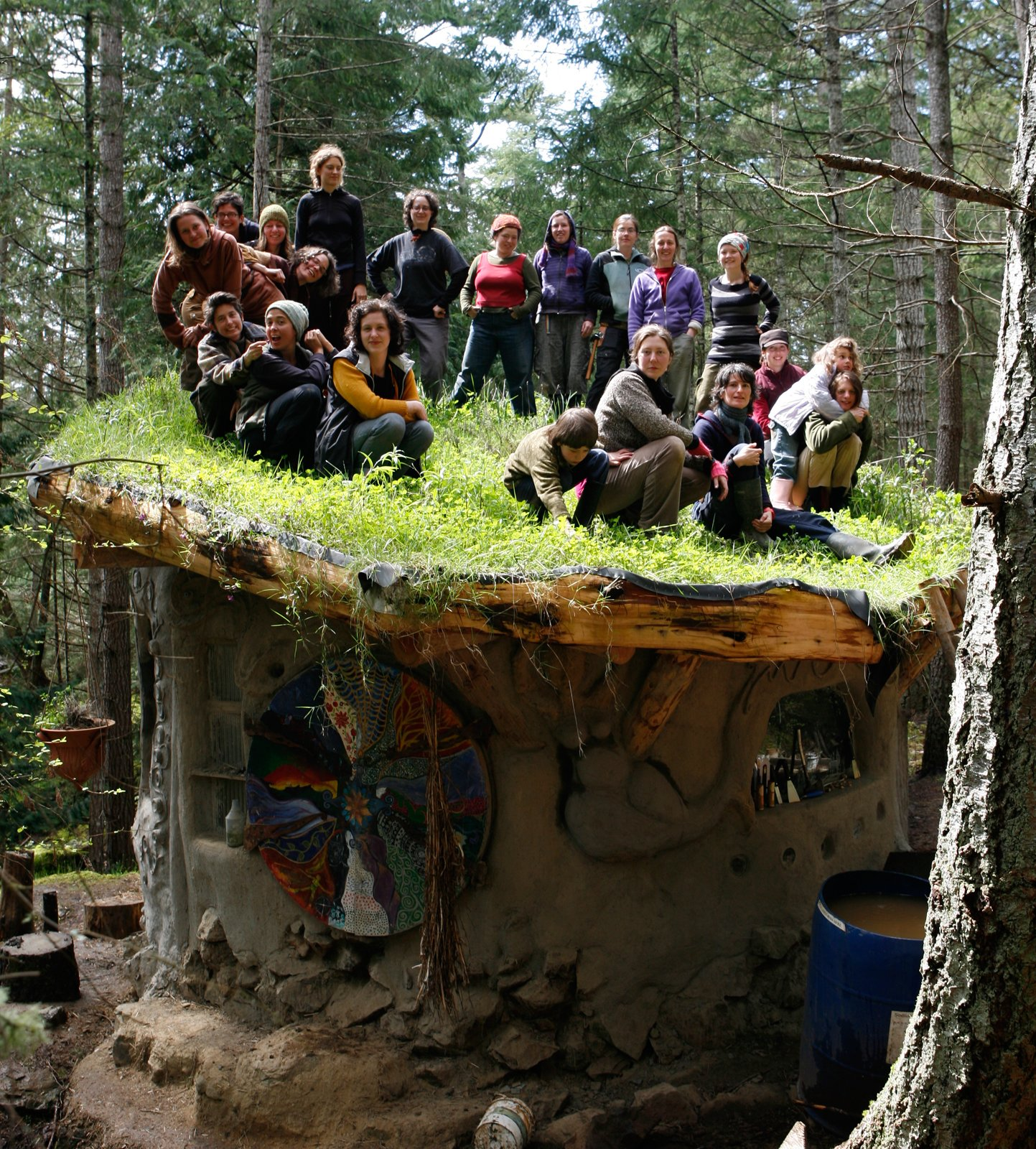 The MudGirls Collective (circa 2005) on Jen Gobby's living roof. Photo courtesy of Jen Gobby.  Photo 2 of 5 in Mud Mavens: Mud Girls Founder Jen Gobby