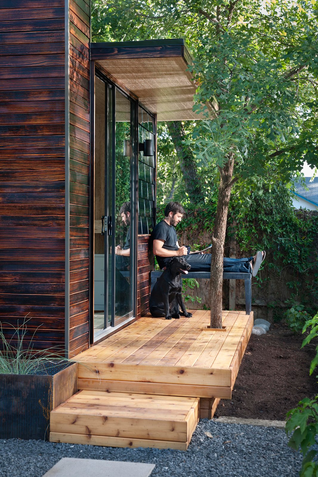 Studio owner Joey Williams uses his space to work from home as an Austin-based media director.  Prefab from On Your Mark, Get Sett