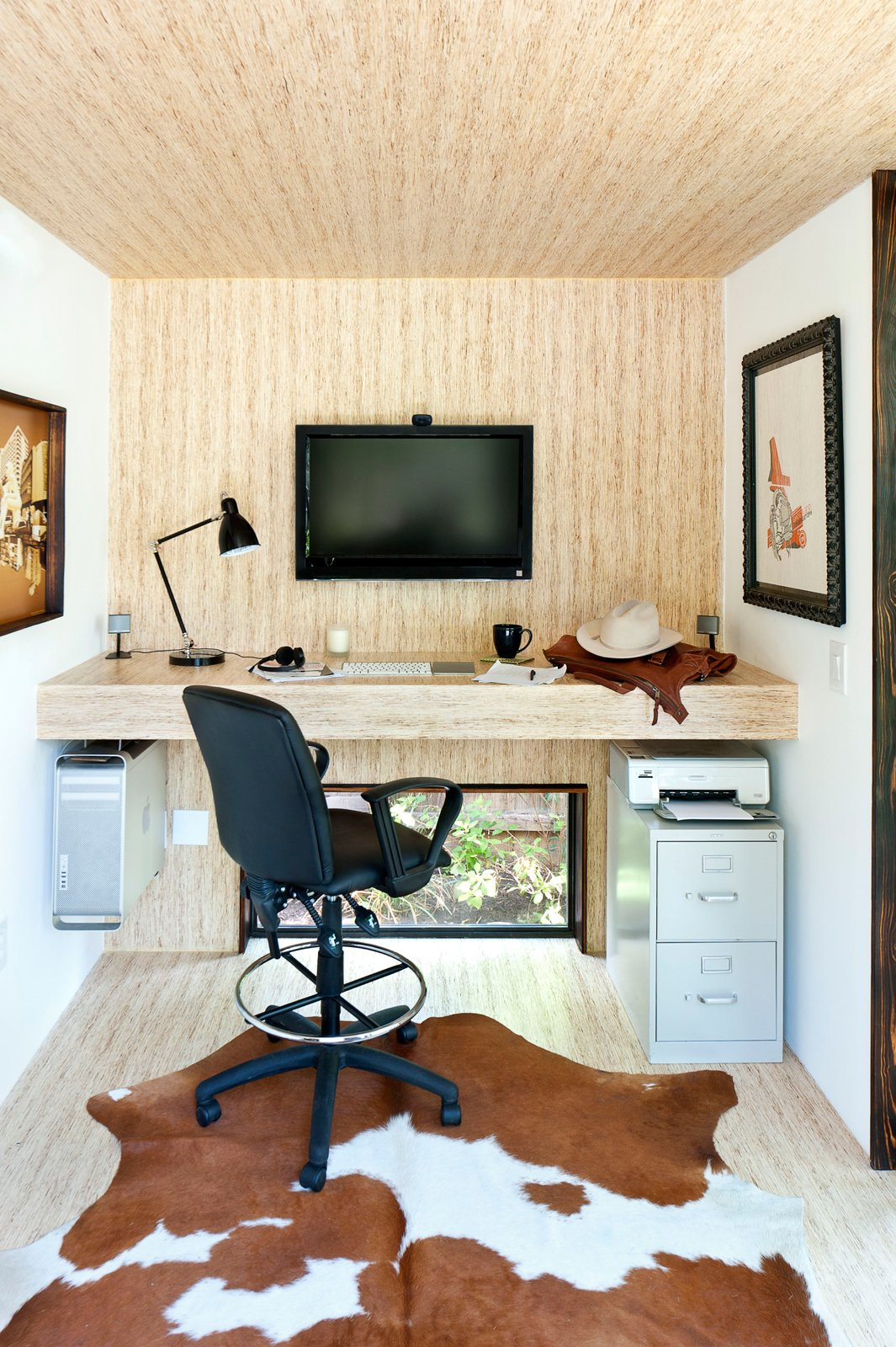 Shed & Studio and Storage Space Room Type Sett Studio also does complete interior work. This unit features monotread, which are panels made from milled recycled wood, on the floor, walls and desk. Lately, the company has been using more bamboo.  Photo 6 of 13 in On Your Mark, Get Sett