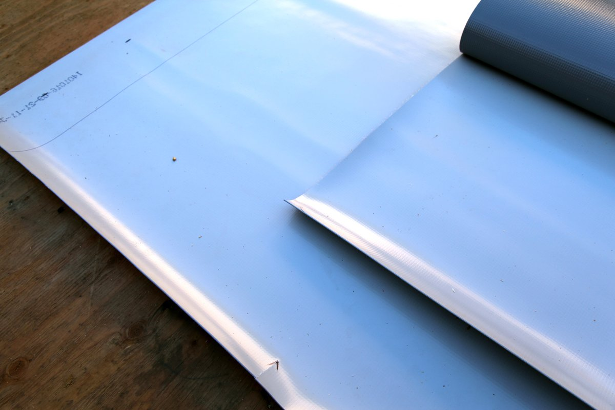 A close-up of the triple-layer Versiflex PVC roofing membrane.  Photo 4 of 9 in Dwell Home Venice: Part 14