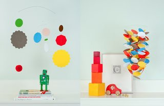 A mobile in the nursery is essential and depends on your style. Frazier & Wing mobiles are available in a broad array of colors and can later be hung elsewhere in the home.