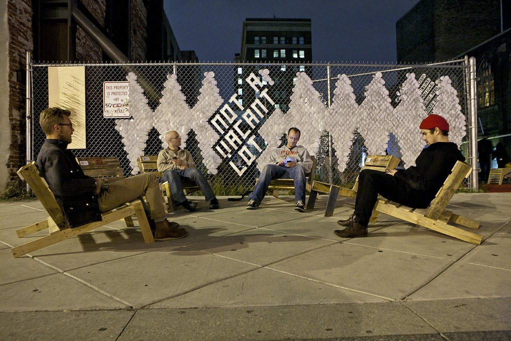Curator Marianne Bernstein and Penn Design students produced Not a Vacant Lot, a five-day exhibition re-imagining a vacant lot in the middle of Center City for DesignPhiladelphia 2011. Photo by Kevin Monko.  Photo 3 of 4 in The Design Week Movement