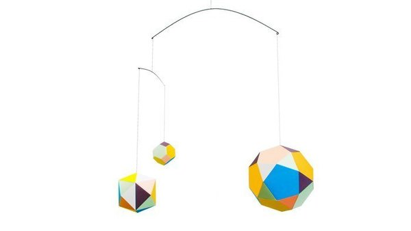 With a dazzling array of kaleidoscopic color, this modern mobile by Stockholm designer Clara von Zweigbergk is a playful look at geometry.