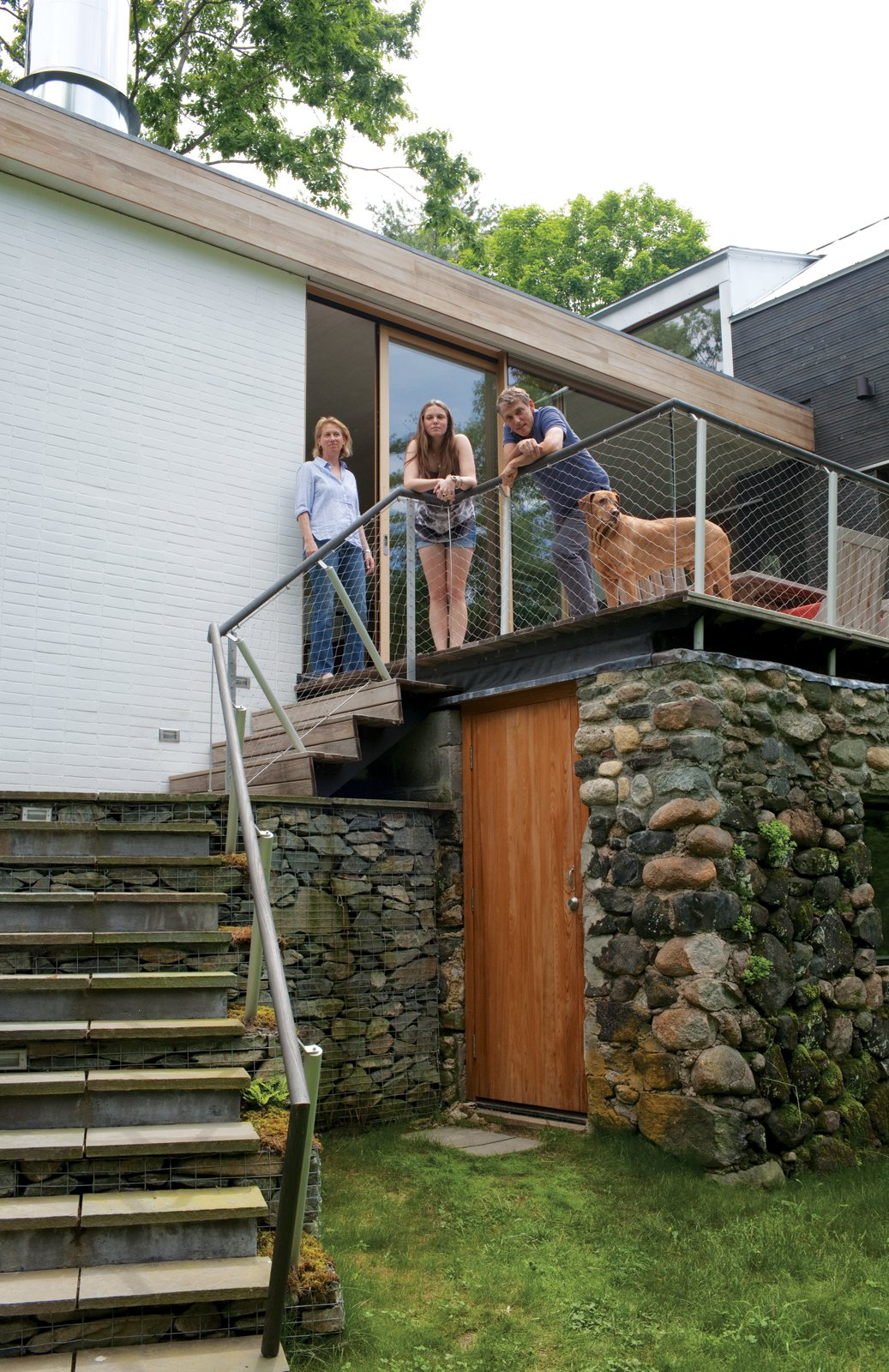 The original stone wall was the home's architectural polestar.