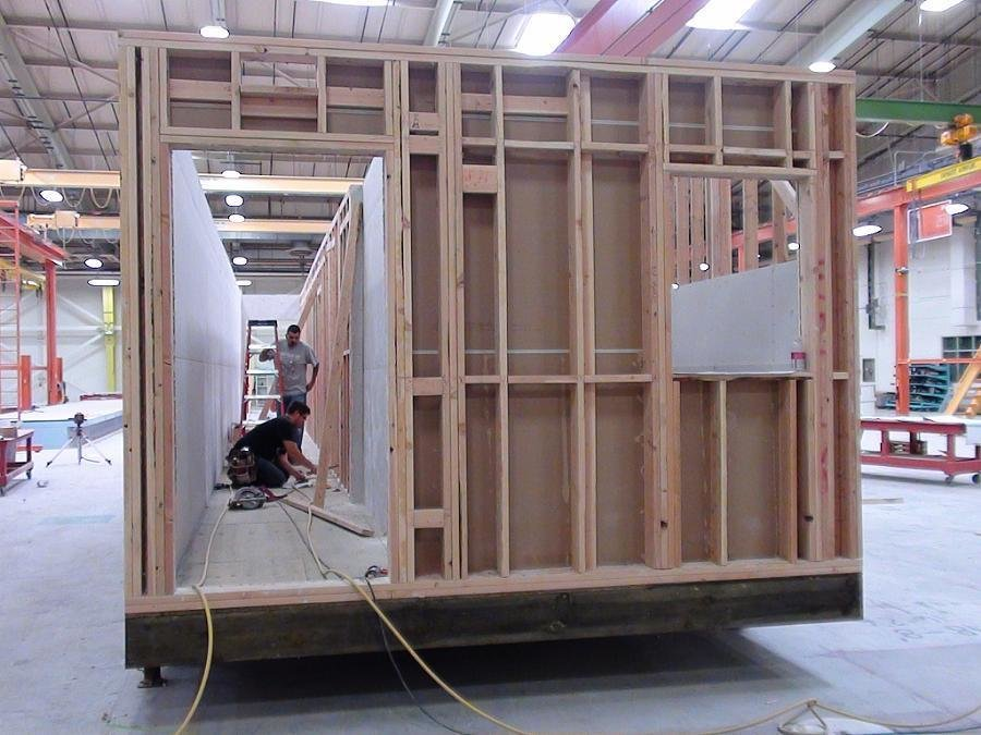 A view of the Harriet Street apartment units under construction in ZETA's factory near Sacramento.  Photo 3 of 4 in Mini Apartments and Next-Wave Prefab, Part 2