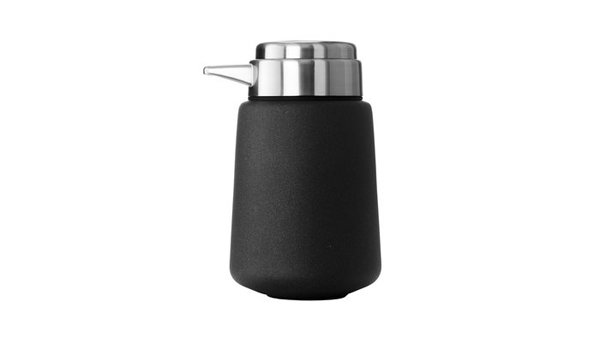 The clever design of this deceptively simple soap dispenser allows for easy one-hand operation, thanks to a large pump and a heavy rubber base that provides extra grip.  Bath Products We Love by Victoria Nguyen