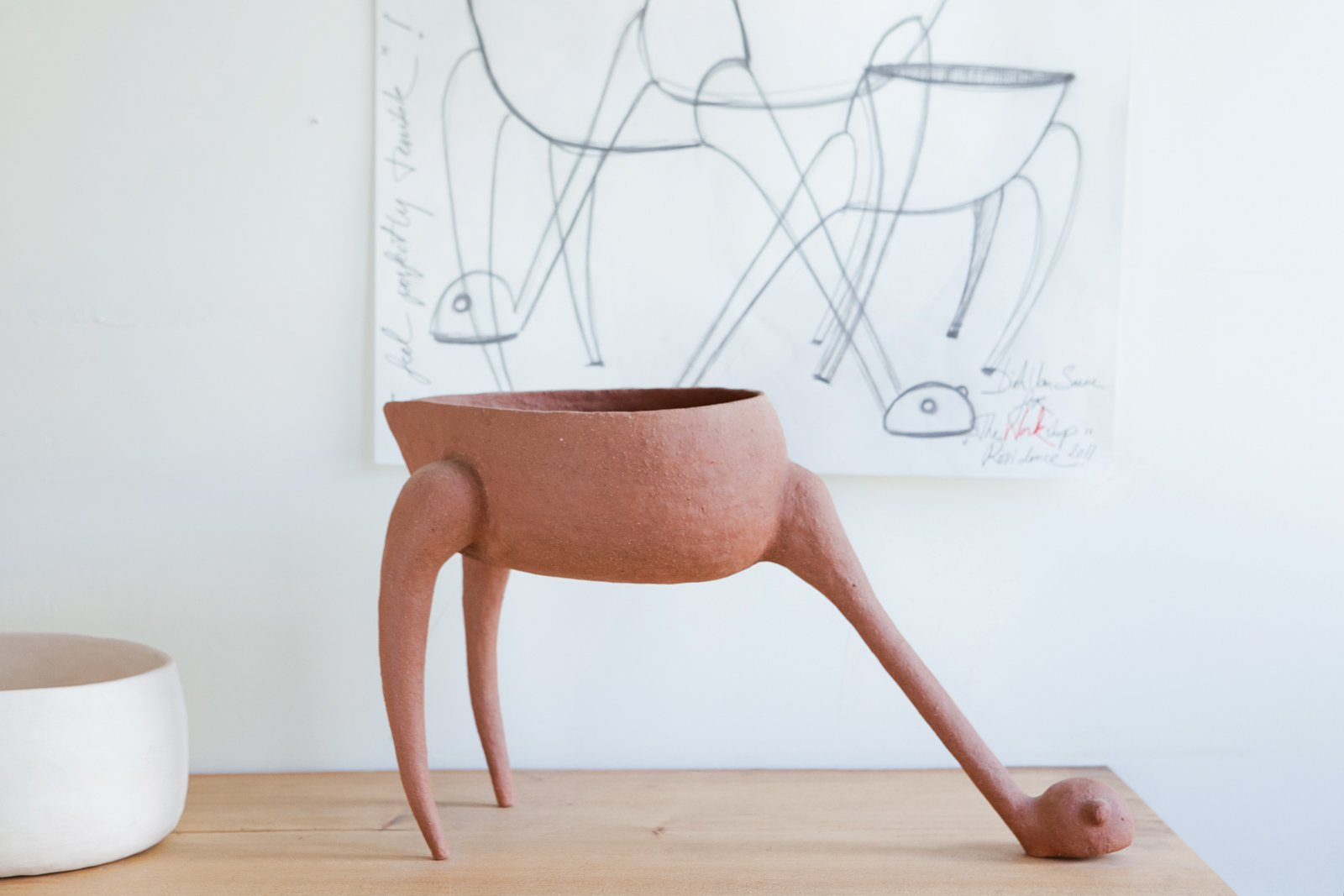 While a resident, Van Saene created animistic bisque pottery inspired by African masks, including a one-off hand-built vessel titled I Feel Perfectly Terrible. Upcoming artists include Johanna Grawunder, a former partner at architect Ettore Sottsass's studio in Milan, who will, starting in February, create lamps from found objects.  Photo 4 of 7 in Maker's Mark