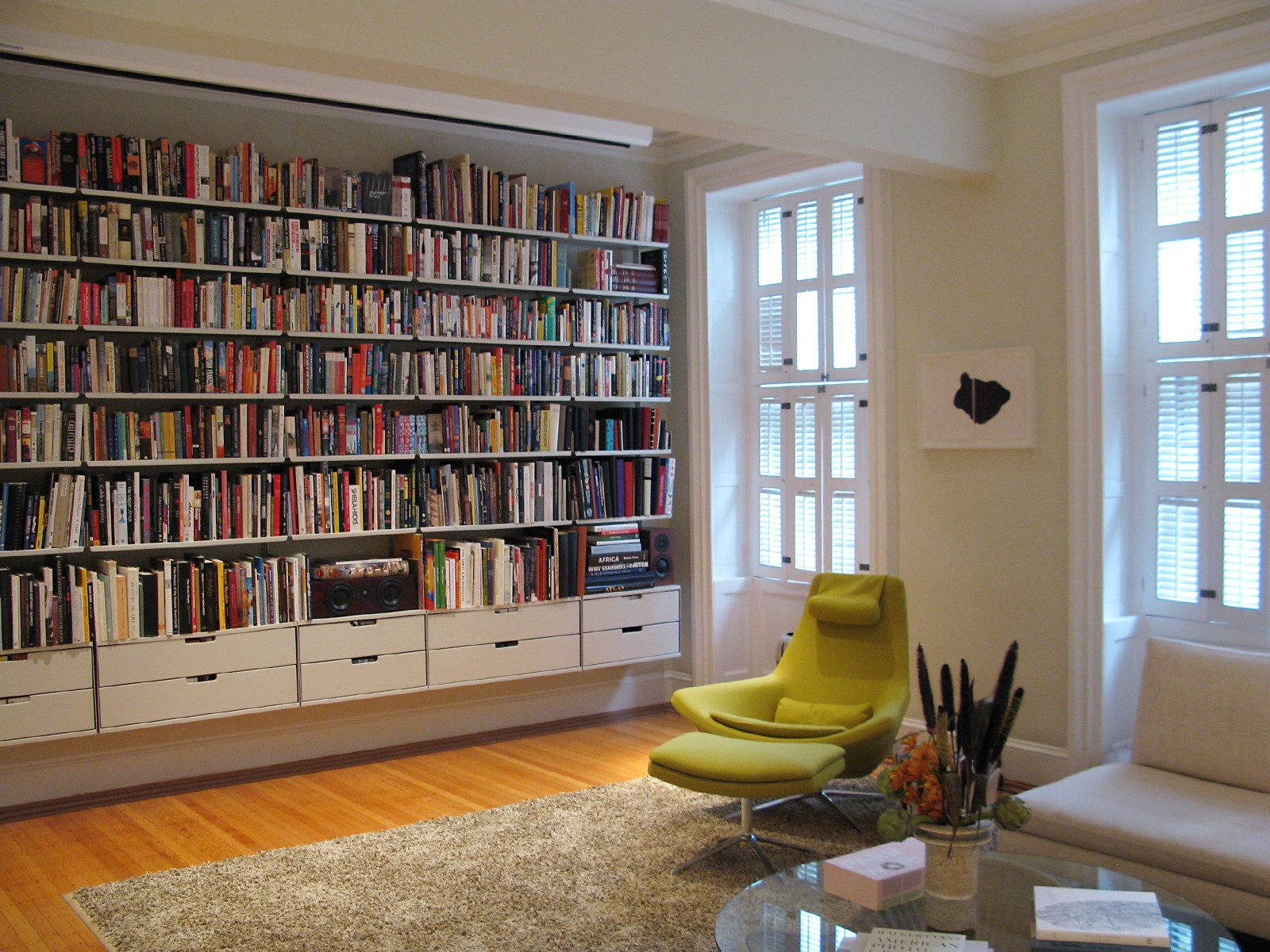 The windows in the library still have their original shutters.  Photo 19 of 51 in City Modern Home Tours: Brooklyn