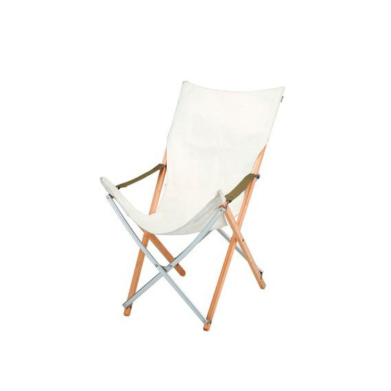 This indoor-outdoor version of the iconic butterfly chair has a washable white canvas seat and frame made from laminated bamboo and aluminum for durability. Long Take chair by Snow Peak.