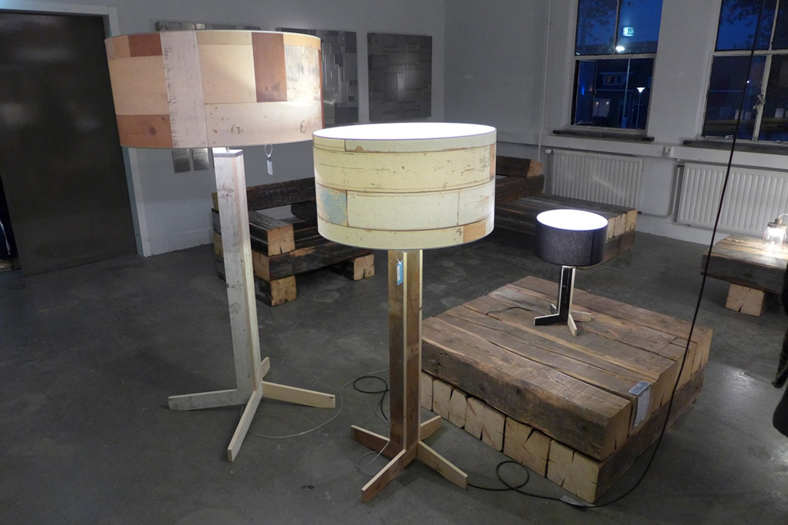 In his Replica collection, Piet Hein Eek experiments with printed wood panels for semi-opaque lampshade with a solid-wood base.  Dutch Design Week 2012, Pt. 2 by Maarten Dinger