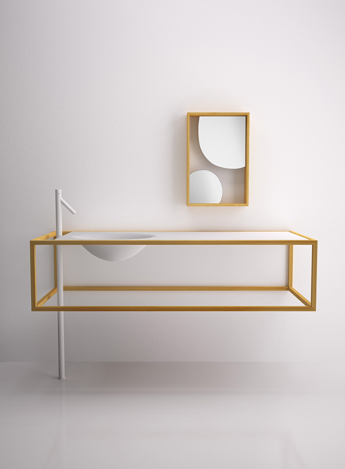 Bath Room and Drop In Sink Counter and sink (€6,800), mirror (€680)  Photo 8 of 9 in 7 Stylish Bathroom Sinks That Can Fit in Even the Tiniest of Spaces from Nendo for Bisazza Bagno