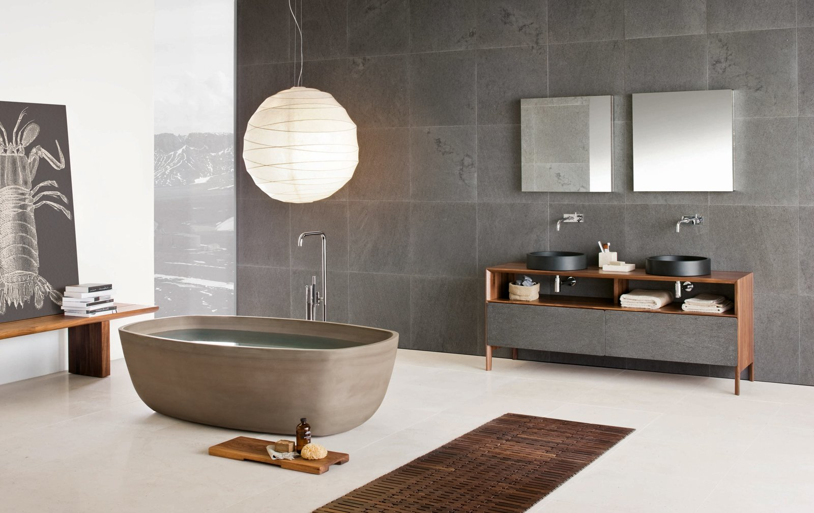 Bath Room, Freestanding Tub, Vessel Sink, and Wood Counter Inkstone bathtub in Sand Brown stone, Inkstone wash-basins, Black Rock stone, and Neos furniture (Neos furniture designed by Luca Martorano).  Best Photos from Inky Inspiration