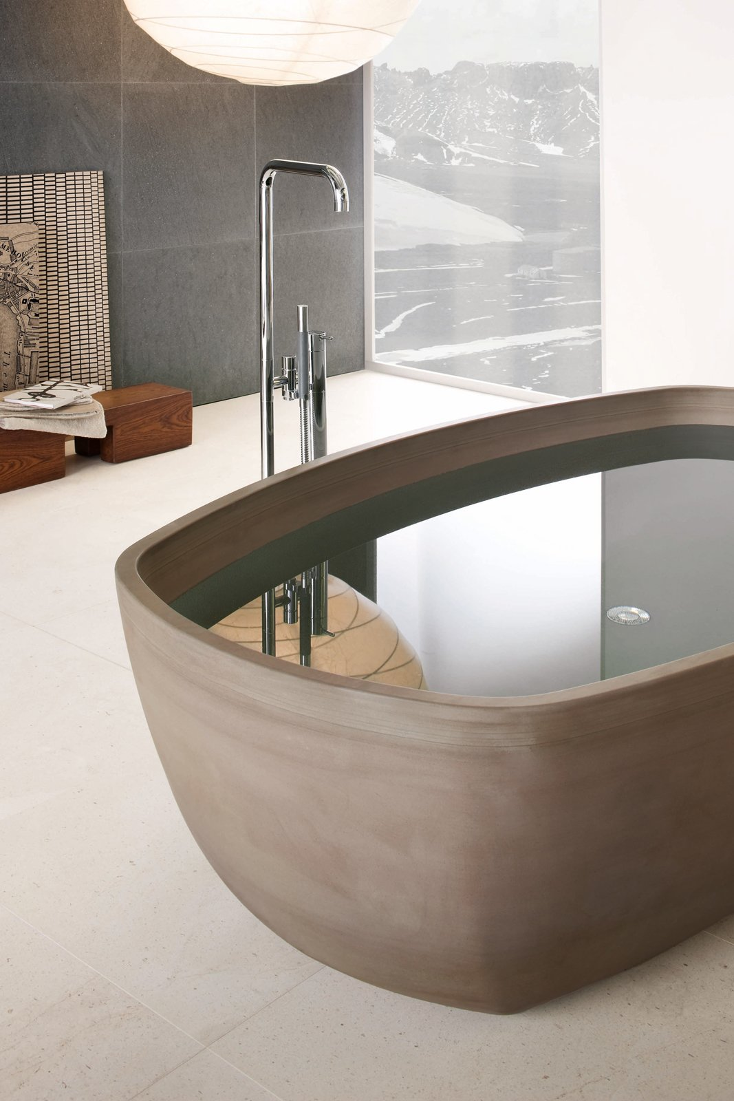 Bath Room and Freestanding Tub Inkstone bathtub, Sand Brown stone.  Best Photos from Inky Inspiration
