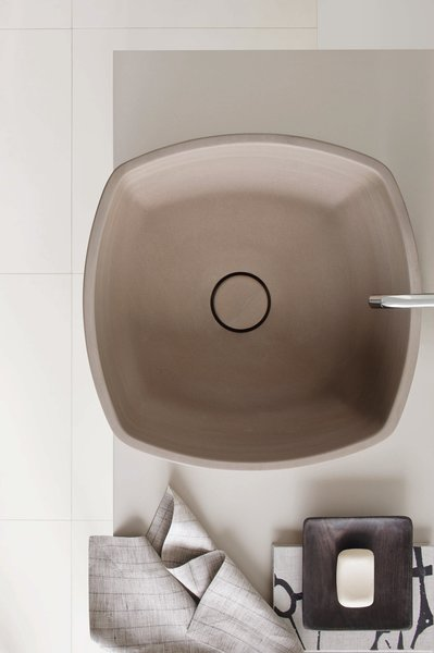 Detail shot of the Inkstone wash-basin in Sand Brown stone.