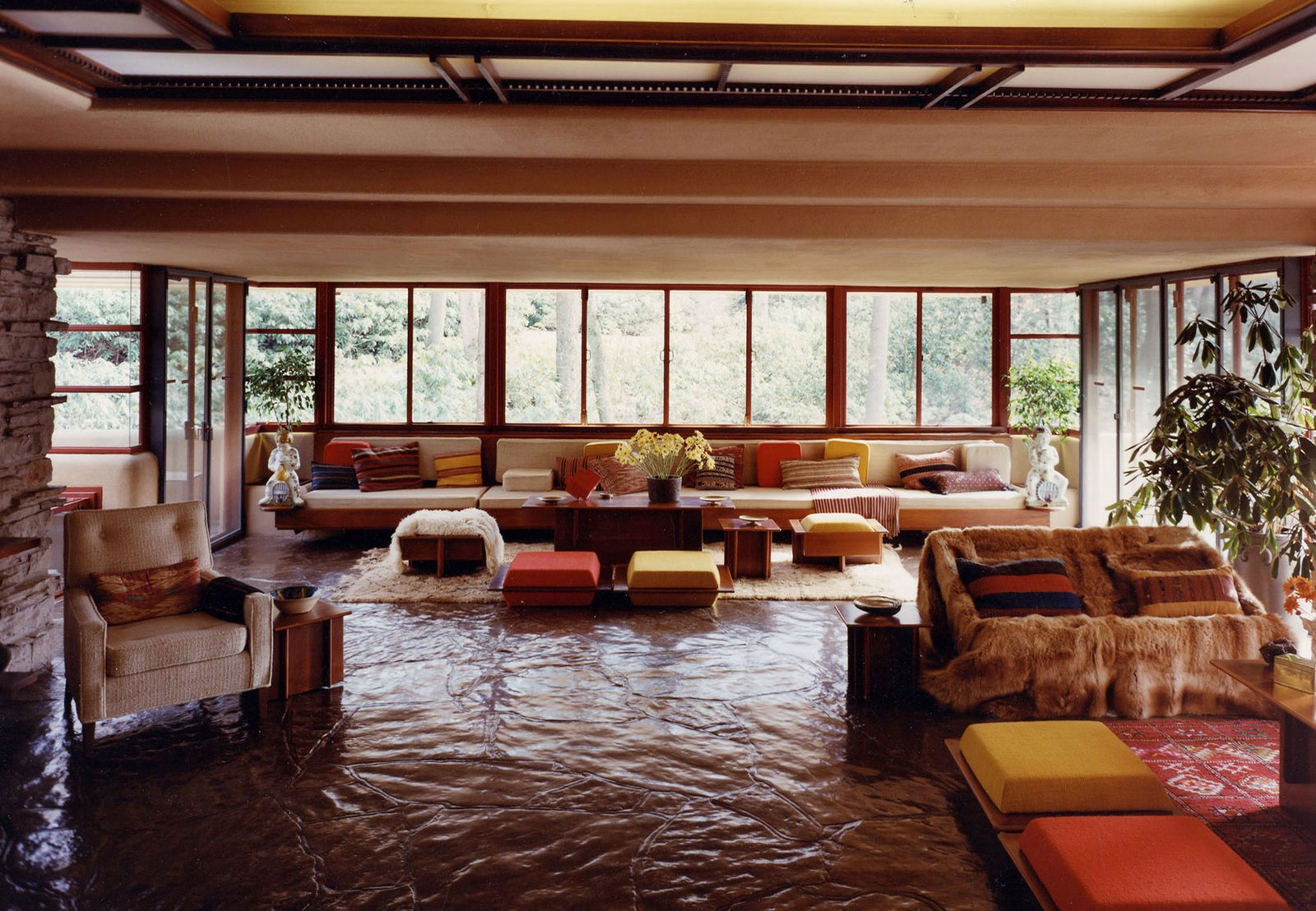 Living, Coffee Tables, Bench, and Sofa Inside Fallingwater on iconichouses.org  Best Living Photos from House Keeper