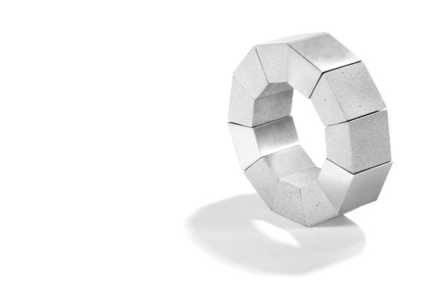 A resemblance to archstones in miniature, the KM121 bracelet.  Photo 7 of 7 in The Wearable Architecture of Karen Konzuk