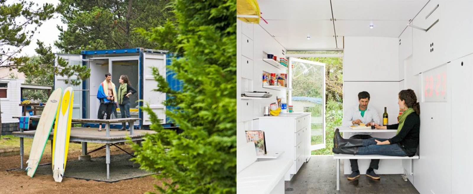 Hartman Kable designed the Surfshack to include loads of built-in, fold-down furniture to keep the 160-square-foot container clutter free. Check out this video tour of the project and watch extra closely at about 49 seconds in to see a Dwell cameo.  Shipping Containers by Dwell