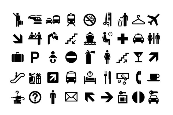 The American Institute of Graphic Arts (now AIGA) asked Pratt alumnus Roger Cook and his partner Don Shanosky to design a set of 34 internationally recognizable pictograms that were ultimately adopted by the U.S. Department of Transportation to guide users of public spaces. The pictograms now reside in the permanent collection at the Cooper-Hewitt, National Design Museum.