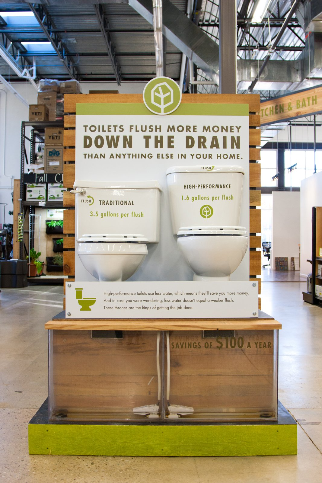 One of TreeHouse's several experiential learning centers educates shoppers about the differences between conventional and eco-friendly toilets.  Photo 1 of 8 in A New Kind of Hardware Store: TreeHouse
