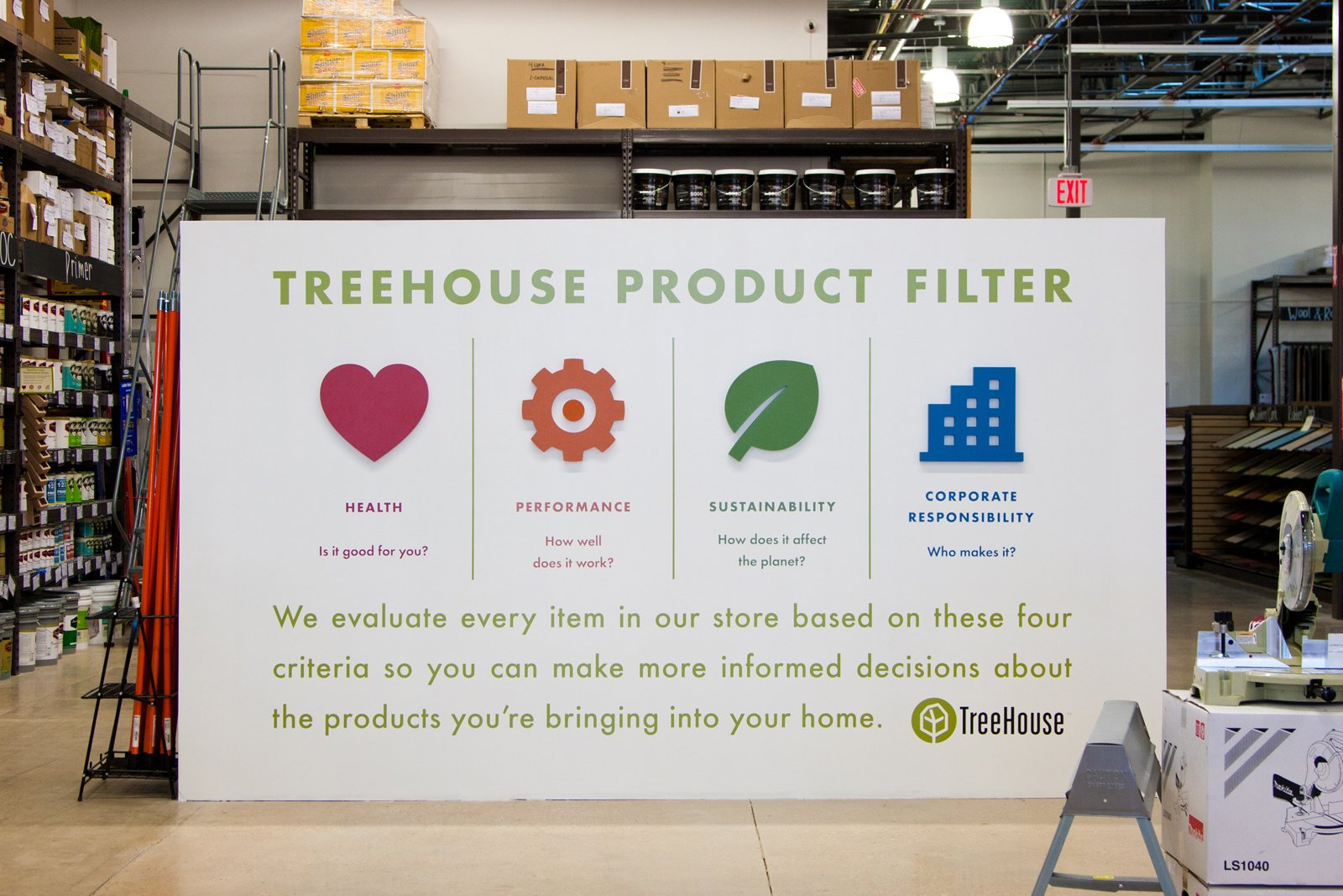 """TreeHouse displays the company's product filter. Every item sold in the store must pass the litmus test for health, performance, sustainability, and social good. Will it work in Austin? It certainly seems to be. """"But Texas is the great experiment,"""" says Yanosy. """"We want to show people that this isn't hippie. This is about efficiency, and healthier homes for your kids, and well made products.""""  Photo 2 of 8 in A New Kind of Hardware Store: TreeHouse"""