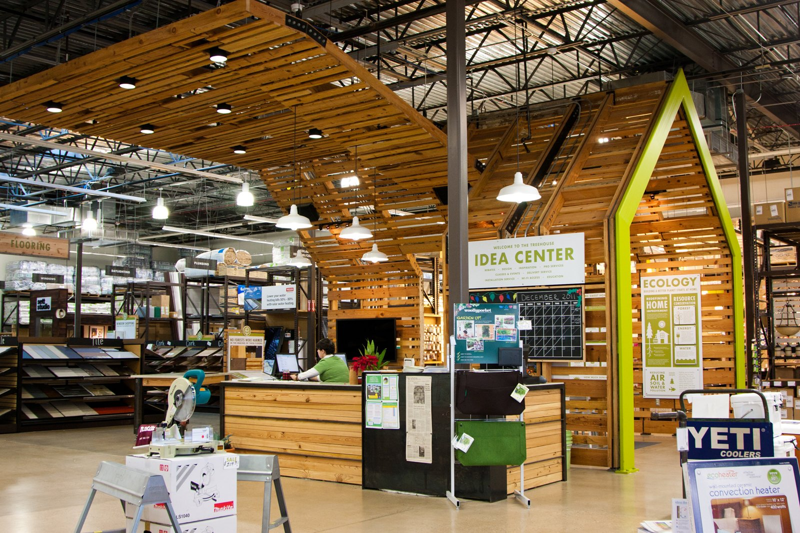 """The hub of the store, the Idea Center, functions similarly to an Apple store Genius Bar. """"We really want this to be an experience,"""" says Yanosy of the concept. """"We're all on a journey, and hopefully our customers know we are on that journey with them - we think it's important to be humble. Think about what it's like to go into an REI versus some other sporting goods store. No matter what level you're at, you're welcomed and educated and the entire experience is positive,"""" he says. """"That's what a hardware store should be like.""""  Photo 4 of 8 in A New Kind of Hardware Store: TreeHouse"""