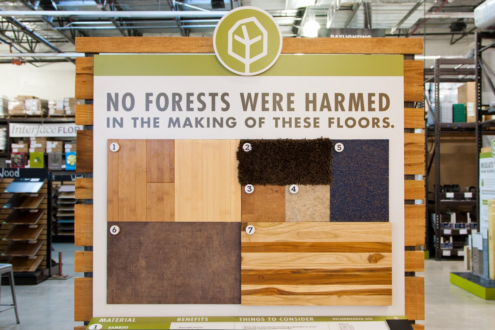"""The flooring zone. """"Retail should be a trusted partner and the ultimate consultant,"""" says Yanosy. """"And it extends throughout the entire business - employees should be treated well, too."""" He ticks off people, nature, excellence, belief in dreams, and community as the core values of TreeHouse. As for making that into a successful business model, Yanosy reflects and says, """"There's always going to be a bit of tension between the needs of business and values. But we're running toward that, not away from it. We think it can be constructive.""""  Photo 8 of 8 in A New Kind of Hardware Store: TreeHouse"""
