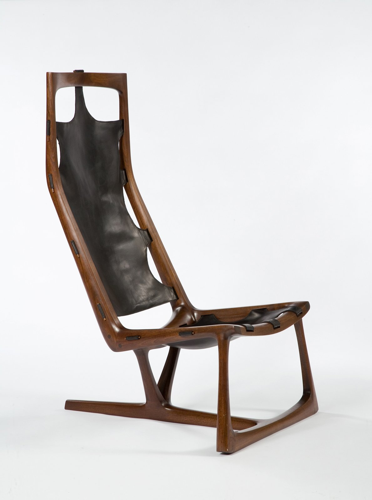 "Early ""Kangaroo"" Chair, 1962. Walnut and leather. By Wendell Castle.  Photo 4 of 10 in Design Miami and Art.sy: Partners in Design"