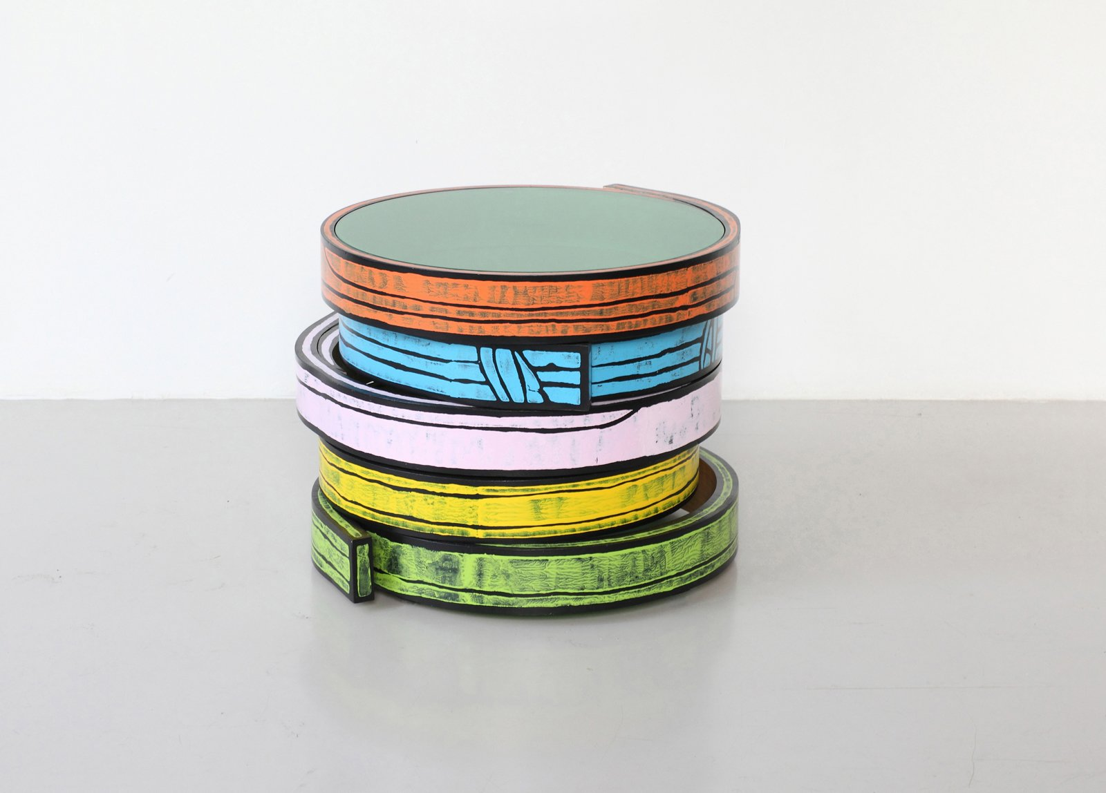Bent Wood Table, 2012. Printed birch wood and colored glass. By WrongWoods. For Sale $7,500 - $10,000.  Photo 5 of 10 in Design Miami and Art.sy: Partners in Design
