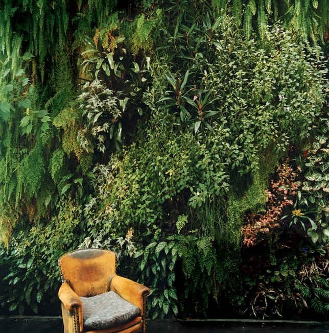 "Living Room and Chair Blanc took the term ""living room"" to a different level with this striking 20-by-23-foot interior wall for the Dimanche family's home in Paris.  Photo 9 of 10 in Living Green Walls 101: Their Benefits and How They're Made from Pantone Announces 2013 Color of the Year: 17-5641 Emerald"
