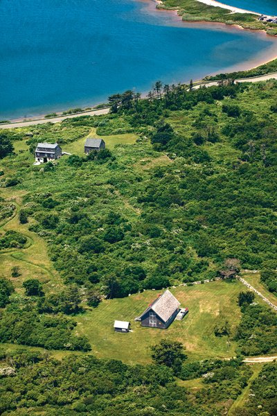 The Risom plot, located on the northern portion of the island, is bordered by a low stone wall, an aesthetic element that appears throughout Block Island.