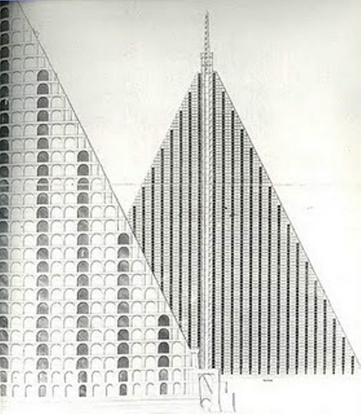 "According to the Architectural Review, this is ""Thomas Willson's 1829 design for a 15-acre, 94-storey pyramid cemetery to be built on Primrose Hill, housing 5 million corpses accessed by steam-powered lifts."" Photo from The Architectural Review."