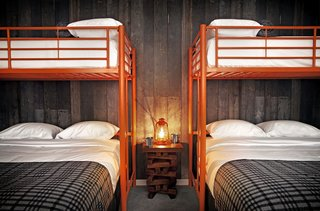 The Basecamp Hotel, South Lake Tahoe  Rooms from $125  The Basecamp Hotel, located in South Lake Tahoe, brings boutique-style accommodations to the Sierras. Inside, find a rustic vibe complemented by brightly hued furniture and vintage ephemera. Amenities include a rooftop hot tub, coffee and hot chocolate bar, and places to store ski gear.