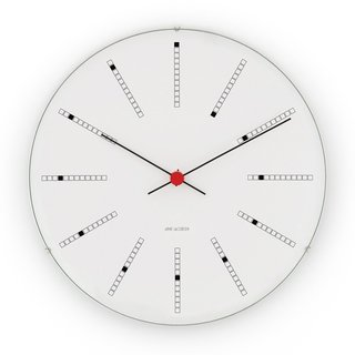 The Bankers Clock, originally conceived for the Danish National Bank in 1971 by master architect and designer Arne Jacobsen, is here, faithfully reproduced by Rosendahl Copenhagen from Jacobsen's original drawings. Cased in aluminum, and featuring precise Japanese Quartz Movement, this simple and elegant piece will bring timeless appeal to an interior.