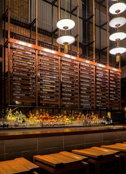 """""""The ground floor of Momotaro channels the spirit of a Tokyo office space of the 1950's and 60s,"""" explains AvroKO partner William Harris, """"where the salaryman spent his days, with an izakaya on the lower level that's inspired by yokocho: the back alleys that sprang up in Tokyo as post-war black markets.""""  Hospitality Favorites from Head to 1960s Japan via AvroKO-Designed Restaurant in Chicago's West Loop"""
