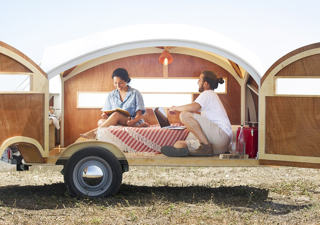 Bedroom and Bed The result, which will be available commercially in early 2015, is a teardrop-shaped caravan that can be towed behind a vehicle or parked in a backyard.  Getaway Inspiration from Cutting-Edge New Prefabs
